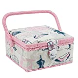 Hobby Gift HGS/157 | SQUARE SEWING BOX Pink/Black Pretty Tailoring | 20x20x11cm