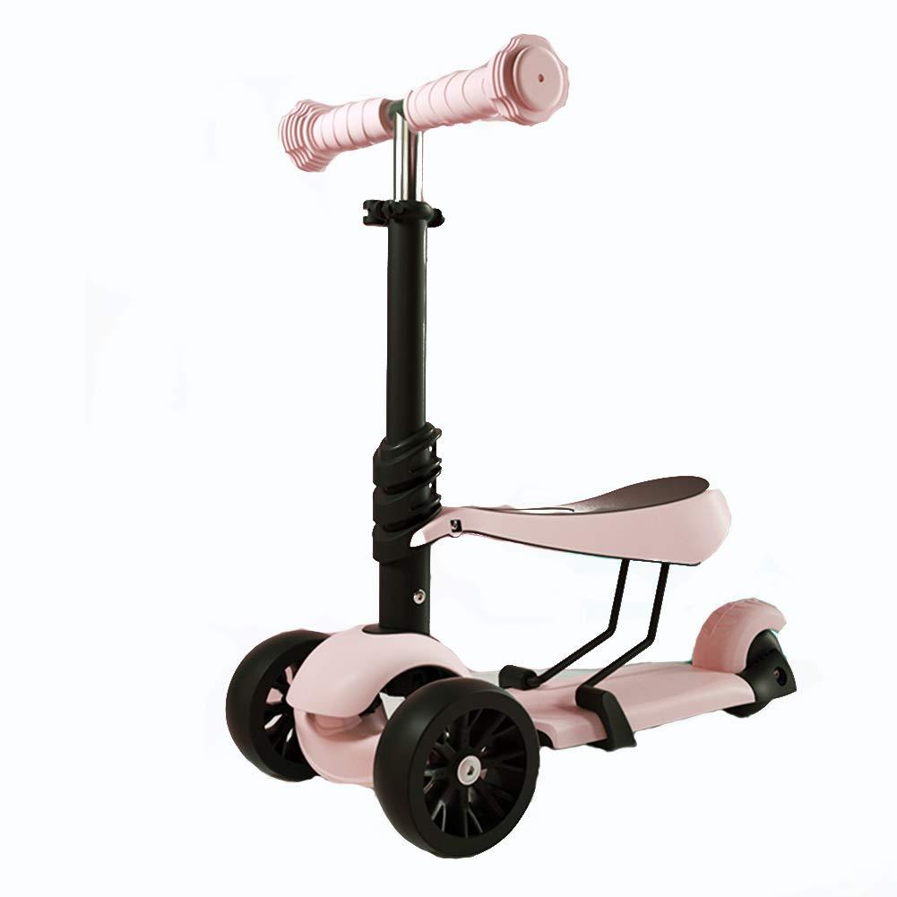 新版 キックスクーター三輪車スケートボードペダル式乗用スタントスクーター折りたたみ B07H8Y39QJ Pink TバーハンドルLEDライトアップホイール付き座席付き調節可能な B07H8Y39QJ Pink Pink Pink, シカマチ:5a0d4c4d --- a0267596.xsph.ru