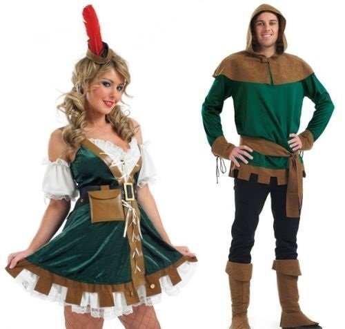 Medieval Film Costumes (Couples Adults Mens AND Ladies Robin Hood Maid Marion TV Film Medieval Outlaw Hero Villain Fancy Dress Party Costumes Outfits (Ladies UK 16-18 & Mens XL) by Fancy Me)
