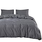 Wake In Cloud - Gray Grid Duvet Cover Set, 100% Cotton Bedding, Dark Grey White Grid Geometric Modern Pattern Printed Zipper Closure (3pcs, Full Size)