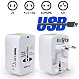 MAXAH® 1 USB Charging Port (1A) Surge Protector All in One Universal Worldwide Travel Wall Charger AC Power AU UK US EU Plug Adapter Adaptor.