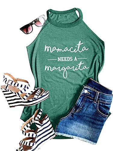 - Ofenbuy Womens Mamacita Needs A Margarita Tank Top Halter High Neck Sexy Letter Print Graphic Camisole (Large, Green)