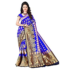 aksh fashion Women's Banarasi Cotton Silk Saree With Blouse Piece (ORAAA02_Multicolored)