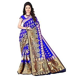 aksh fashion Women's Banarasi Cotton Silk Saree With Blouse Piece (ORAAA02_Multicolored)