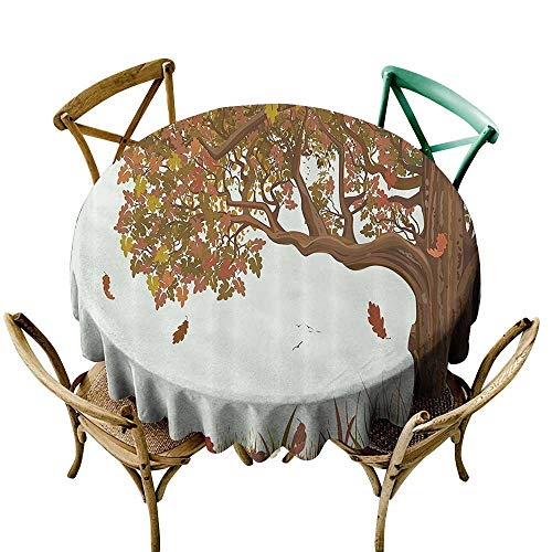 Fashions Table Cloth Tree of Life Autumn Season Fall Shady Deciduous Oak Leaves in Park Countryside Artwork Party Decorations Table Cover Cloth 70 INCH Umber Redwood