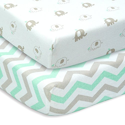 CUDDLY CUBS Set of 2 Jersey Cotton Fitted Crib Sheets in Gray and Mint with Chevron & Elephants - TOP QUALITY Nursery Bedding for Boy or Girl, Ideal Baby Shower Gift (Baby Crib Bedding Sets Elephant)
