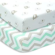 CUDDLY CUBS Set of 2 Jersey Cotton Fitted Crib Sheets in Gray and Mint with Chevron & Elephants - TOP QUALITY Nursery Bedding for Boy or Girl, Ideal Baby Shower Gift