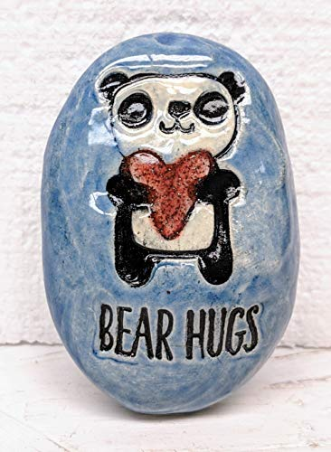 - PANDA BEAR HUGS Pocket Stone - Sapphire Blue Art Glaze - Inspirational Art Piece by Inner Art Peace
