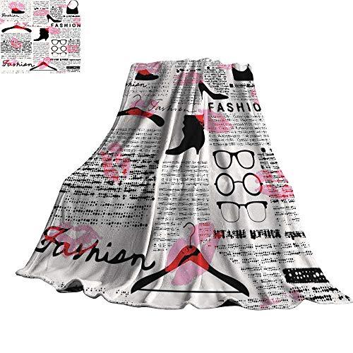 - Old Newspaper Decor Super Soft BlanketsFashion Elements Kisses Lipstick Glasses Shoes Hangers 50