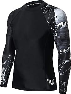ADOREISM Men's Long Sleeve Rash GuardCompression Quick-Dry Lightweight UPF 50+ Swimsuit Swim Shirt Athletic Gym MMA BJJ Rashguard for Men