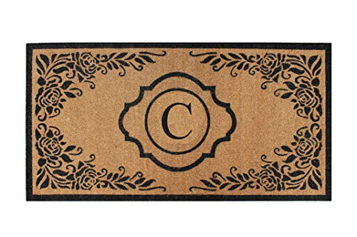 A1 Home Collections PT6002-C Hand Craft Entry Coir Monogram Double Doormat,72