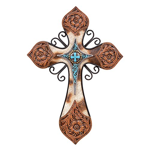 Black Forest Decor Turquoise & Hide Wall Cross