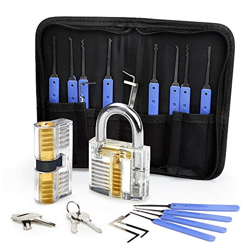 Lock Pick Set, Eventronic 17-Piece Lock Picking Tools with 2 Clear Practice...