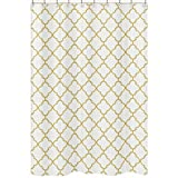 Sweet Jojo Designs White and Gold Trellis Children's Bathroom Fabric Bath Shower Curtain