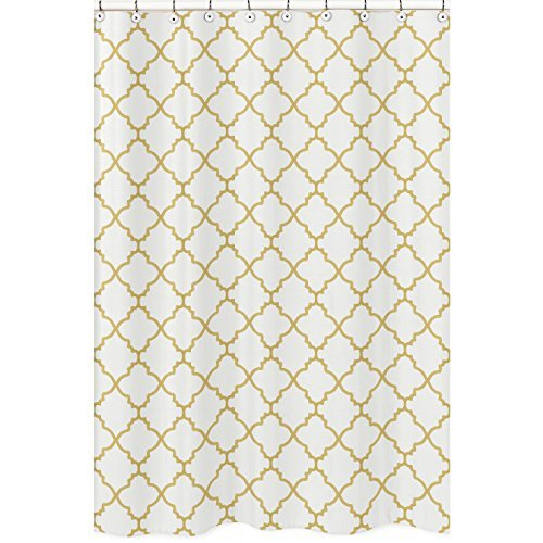 Sweet Jojo Designs White and Gold Trellis Children's Bathroom Fabric Bath Shower Curtain