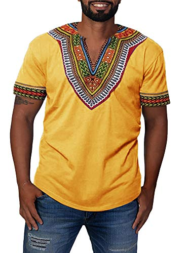 Gtealife Men's African Print Dashiki T-Shirt Tops Blouse (1-Yellow, XXL) (Best African Clothing Styles)