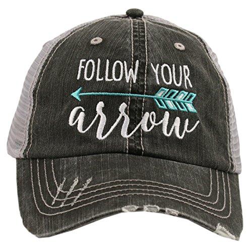 Cap Hat Distressed Trucker (Katydid Follow Your Arrow Women's Trucker Hat-Mint)