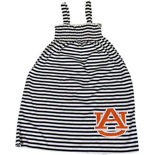 Glitter Gear Auburn Tigers Official NCAA Striped Sleeveless Smocked Dress W/Large Logo. Fanatic 2 T (Tigers Glitter Gear)