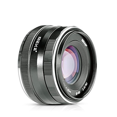 Meike 50mm f/2.0 Fixed Manual Focus Lens for Sony E mount Mirrorless Camera I4-Z8XO-QQNI A6300 A6000 A5100 A5000 NEX7 NEX6 NEX5n NEX5r NEX5t NEX5 NEX3 NEX3N with Voking Lens Cleaning Cloth