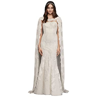 Davids Bridal Oleg Cassini Scalloped Chiffon Cape Wedding Dress Style CWG717, Ivory, ...