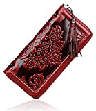 PIJUSHI Floral Wallet Genuine Leather Long Clutches Card Holder Purse (91853 Red)
