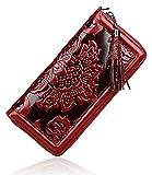 PIJUSHI Leather Wallets For Women Floral Wristlet Wallet Card Holder Purse (91853 Red)