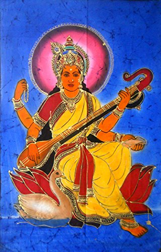 Goddess Saraswati Playing Veena Hindu Religious Batik Wall Hanging