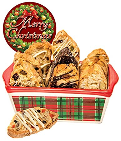 Amazon Com Christmas Biscotti In Ceramic Dish Grocery Gourmet Food