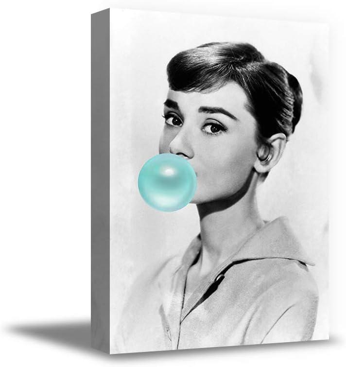 Christmas Sweater for women Audrey Hepburn Art Print Stylish Wrapped Decor Audrey Hepburn Blowing Blue Bubble Gum Poster 19