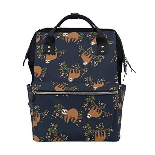 - Flower Sloth School Backpack Bookbag Travel Shoulder Stylish Large Capacity Diaper Bags