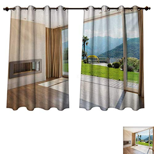 Modern Blackout Curtains Panels for Bedroom Room with Scenic View House Mountains Palm Trees Greenery Garden Print Decorative Curtains For Living Room Pale Brown Green White W52 x L63 inch ()