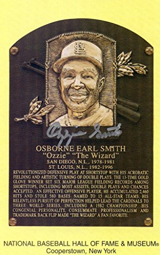 Mlb Card Plaques (Ozzie Smith signed Hall of Fame plaque card photo MLB.com hologram Cardinals - Baseball Slabbed Autographed Cards)