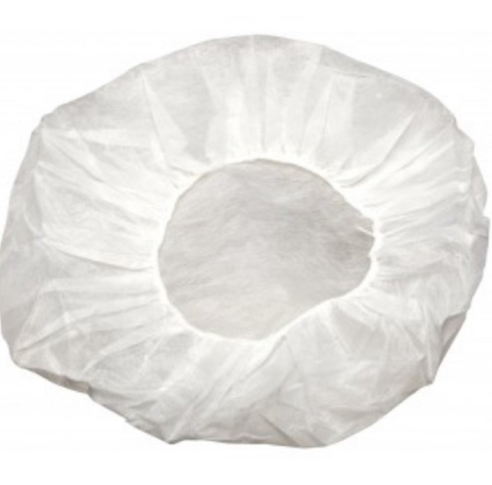"""100 Pack White Bouffant Caps 18"""". 10g Hairnet Caps with elastic stretch band. Disposable Polypropylene Hats. Unisex Protective Hair Covers for food service, medical use. Breathable, Lightweight."""