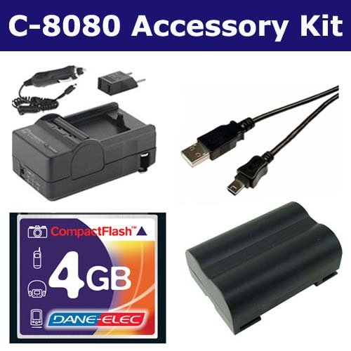 Olympus C-8080 Digital Camera Accessory Kit includes: T44655 Memory Card, USB5PIN USB Cable, SDM-149 Charger, SDBLM1 Battery