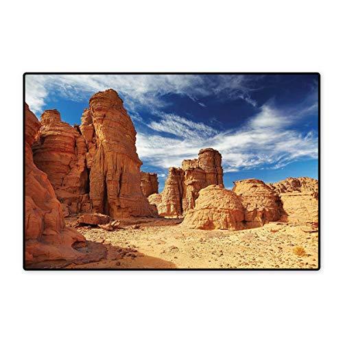 Desert Door Mat Small Rug Bizarre Sandstone Cliffs in Sahara Desert Tassili NAjjer Algeria Bath Mat for Bathroom Mat 16
