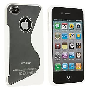 Accessory Planet(TM) Clear / White S-Line TPU Rubber Skin Case Cover Accessory for Apple iPhone 4 / 4S