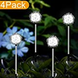 YIYAYIYAYO 4 Pack Solar Garden Lights Outdoor, LED Stake Landscape Lighiting with Dandelion Flower, Waterproof/Auto On/Off - Decorative Figurine Lights for Garden/Patio/Landscape/Pathway/Backyard