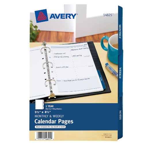 Avery Mini Monthly and Weekly Calendar Pages, 5.5 x  8.5 inches (14825) (5x8 Calendar Insert compare prices)