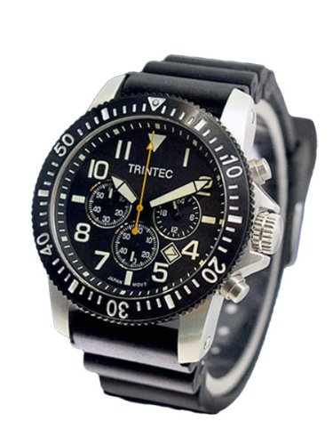 Trintec Zulu-01 Chronograph with Black Bezel and Stainless Steel Case (Zulu Time Pilot Watch)
