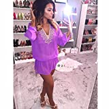 Beach Glam Purple and Gold Silk Kaftan