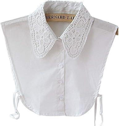 Lunji falso cuello mujer desmontables encaje collar camisa Pull ropa accesorio blanco Talla única: Amazon.es: Ropa y accesorios
