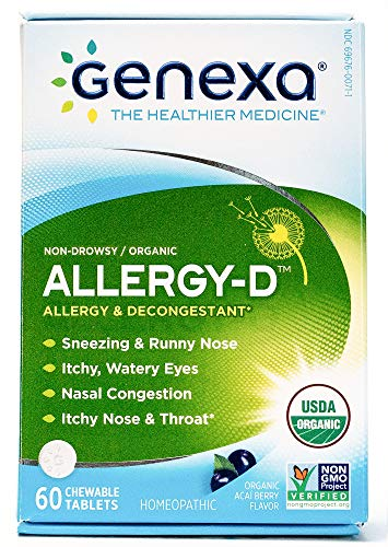 Genexa Homeopathic Allergy Medicine: Certified Organic, Physician Formulated, Natural, Non-Drowsy, Non-GMO Verified Decongestant. Helps Provide Seasonal Allergy Relief (60 Chewable (Non Drowsy Decongestants)