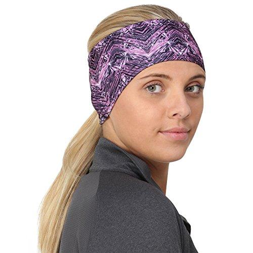 TrailHeads Women's Print Ponytail Headband – 12 prints - Made in USA - purple geometric by TrailHeads