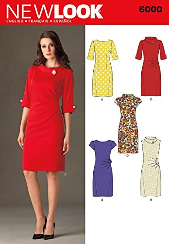 New Look Sewing Pattern 6000 Misses' Dresses, Size A (4-6-8-10-12-14-16) - Jersey Fabric Knit Silk