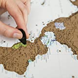 TOMOJO Scratch Off World Map Poster, Beautifully Detailed Cartography w US States, Personalized Travel Tracker To Inspire Your Traveling! Awesome Gift For Travelers! W Bonuses, A2 size, Gold