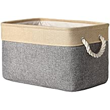 TheWarmHome Decorative Basket Rectangular Fabric Storage Bin Organizer Basket with Handles for Clothes Storage (Grey Patchwork, 15.7L11.8W8.3H)