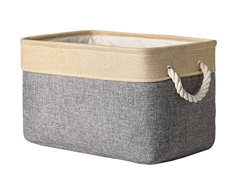 TheWarmHome Decorative Basket Rectangular Fabric Storage Bin Organizer Basket with Handles for Clothes Storage (Grey Patchwork, 15.7L×11.8W×8.3H)]()