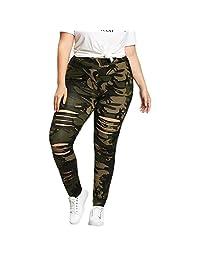 TIMEMEANS Plus Size Womens Camouflage Leggings Trousers Sport Hole Casual Pants