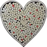 Heart Drop Alternative Wedding Guest Book Wood Shadow Box with 1'' Heart Charms