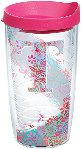 Tervis 1240102 INITIAL-T Botanical Insulated Tumbler with Wrap and Fuschia Lid 16oz Clear